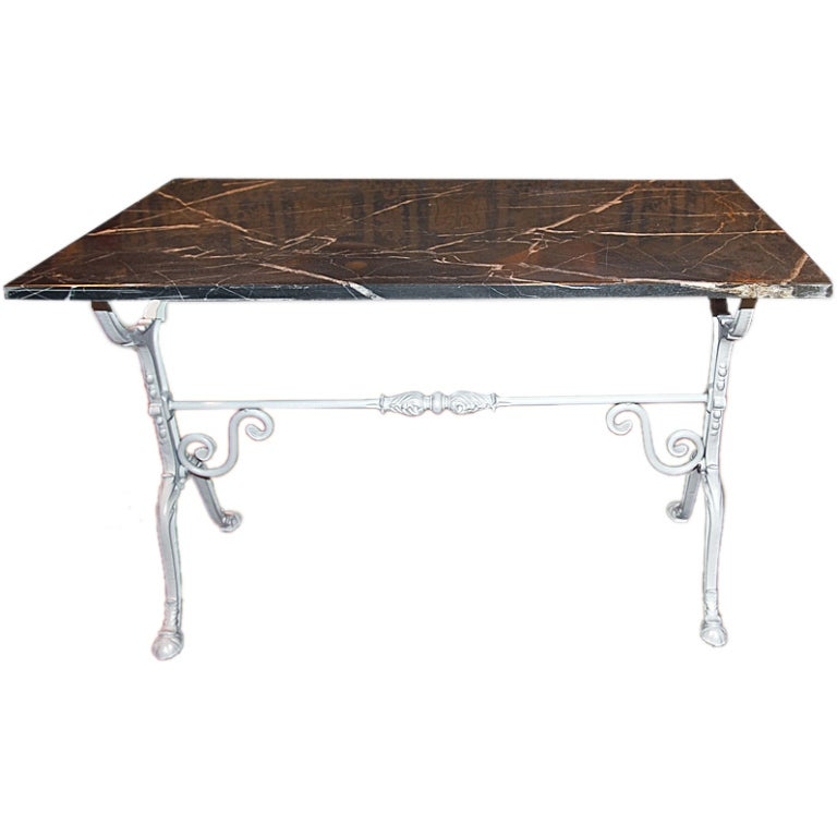French Metal Bistro Table With Marble Top At 1stdibs