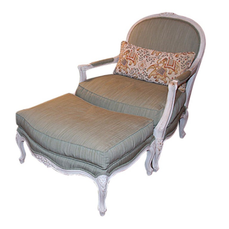 Lxv style fauteuil with ottoman at 1stdibs - Fauteuil cinna ottoman ...