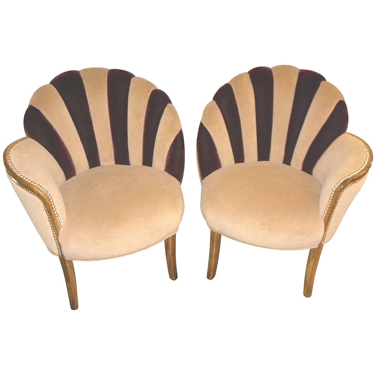 Merveilleux High Style Art Deco Fan Backed Side Chairs For Sale