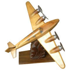 Original French Wood and Chrome Model Plane Art Deco, Period 1930s