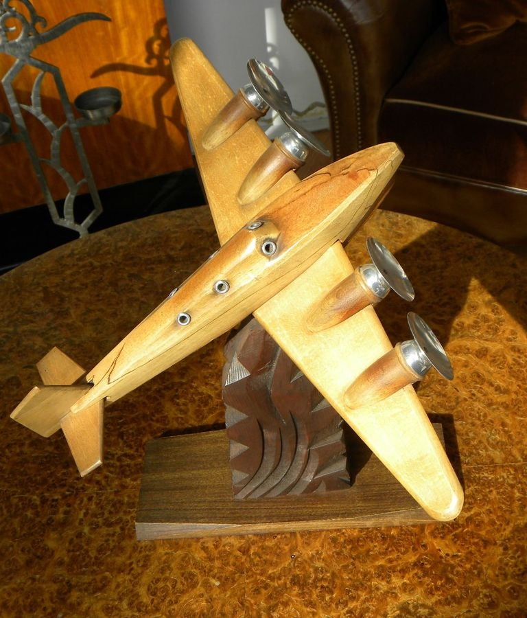 Original French Wood and Chrome Model Plane Art Deco, Period 1930s For Sale 3