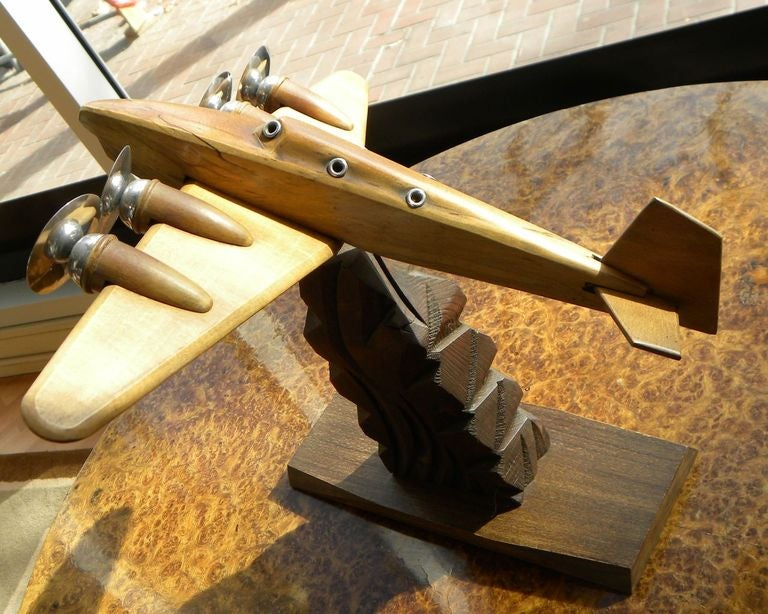 Original French Wood and Chrome Model Plane Art Deco, Period 1930s In Good Condition For Sale In Oakland, CA