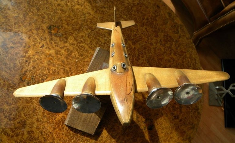 Original French Wood and Chrome Model Plane Art Deco, Period 1930s For Sale 1