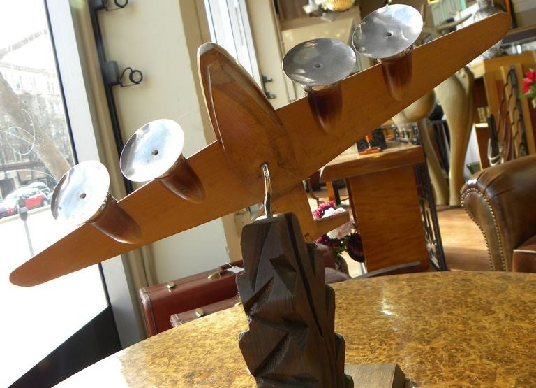 Original French Wood and Chrome Model Plane Art Deco, Period 1930s For Sale 2