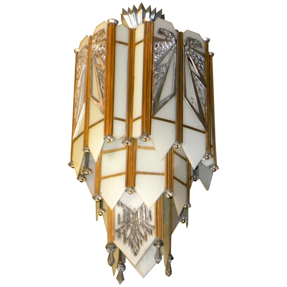 Spectacular Art Deco Zig Zag Movie Theater Chandelier At