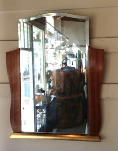 Original French Art Deco Rosewood Decorative Dressing Mirror