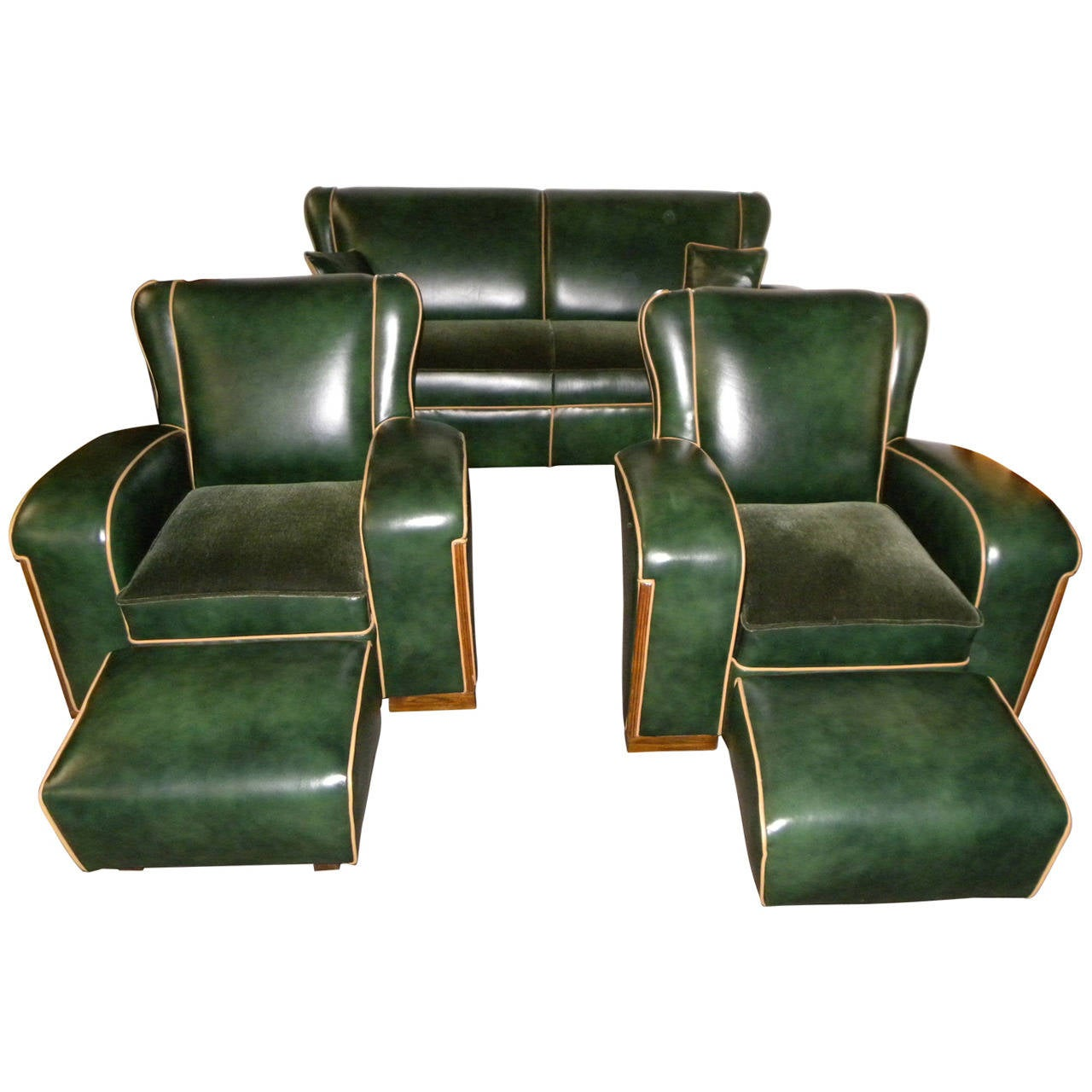 unique art deco sofa suite at 1stdibs. Black Bedroom Furniture Sets. Home Design Ideas