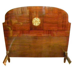 Beautiful Mahogany Art Deco Bed with Marquetry from the 1920s