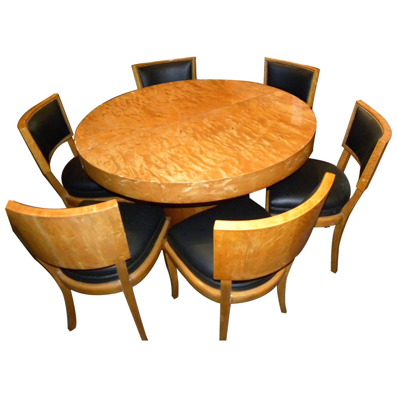Art deco round mid century dining table and chairs at 1stdibs for Artistic dining room tables