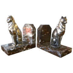 Cubist Cats Bookends French 1930's