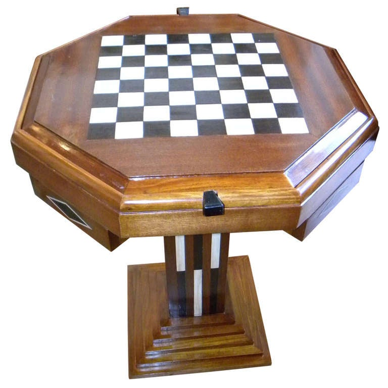 Art deco game table chess checkers backgammon for sale at - Table de nuit art deco ...