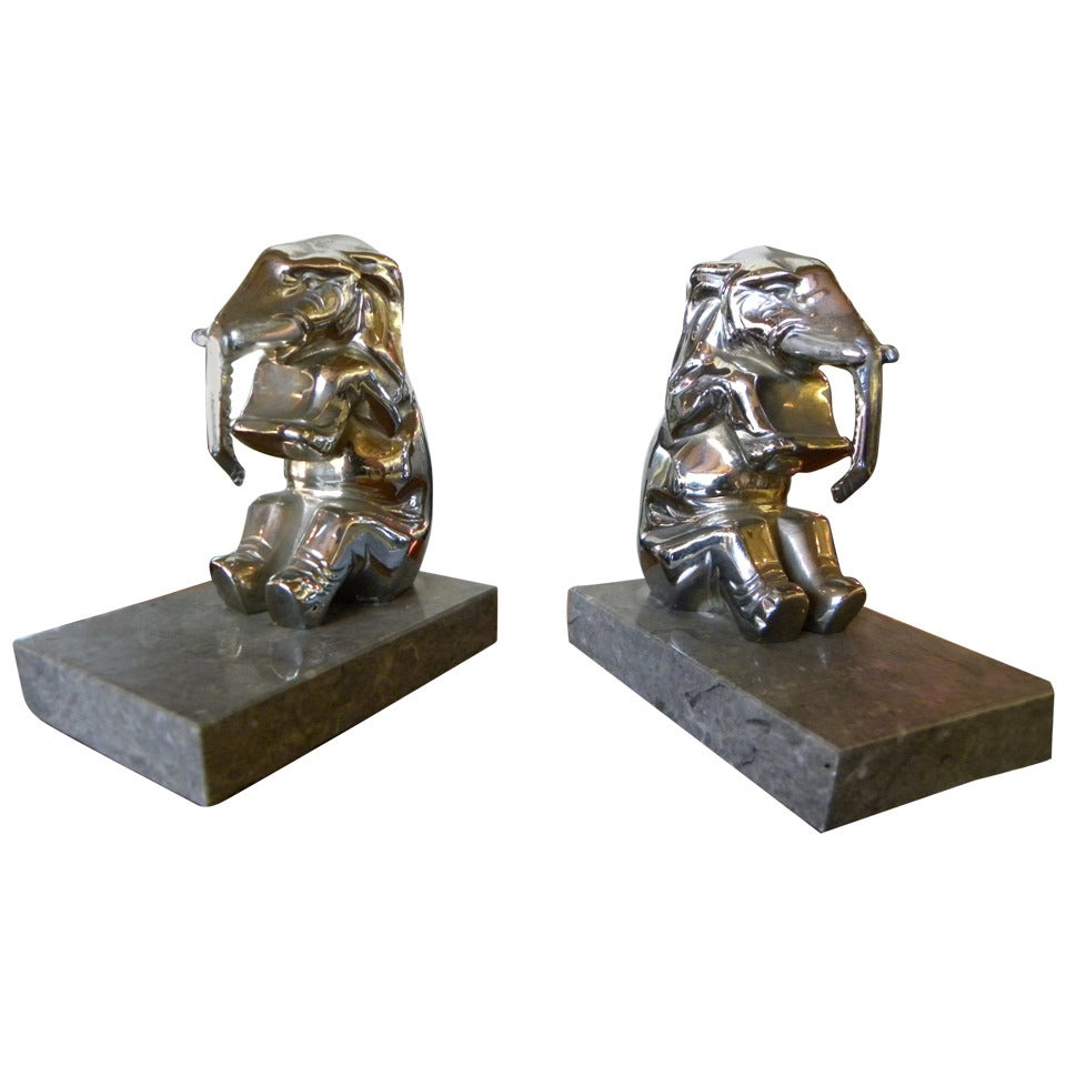 Chrome-Plated Elephants Bookends French Art Deco