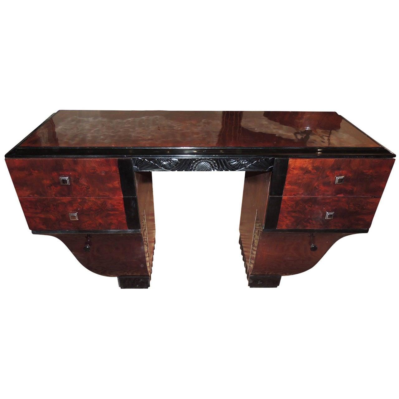 Unique Symmetrical Art Deco Desk French Style For Sale At