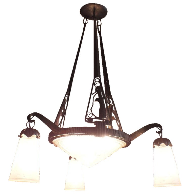 Nique Muller Frères French Art Deco Chandelier with Penguins