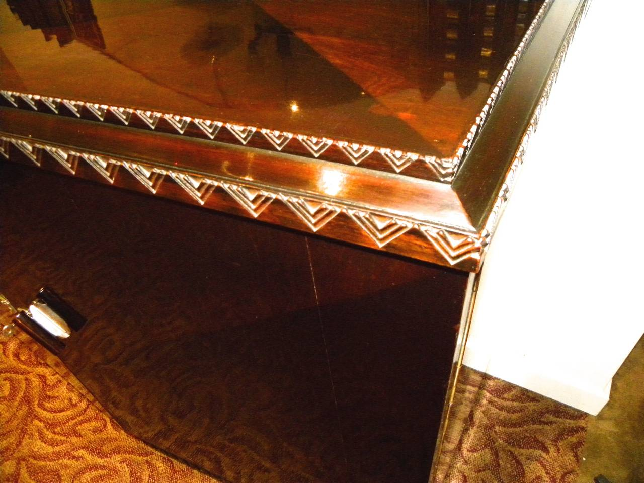 European Art Deco Lacquered Buffet with Zig Zags In Excellent Condition For Sale In Oakland, CA