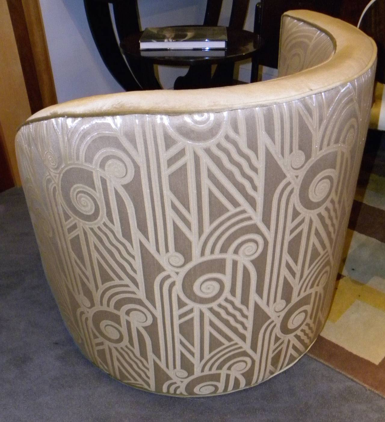Hollywood Glamour Art Deco Unique Swivel Chairs at 1stdibs