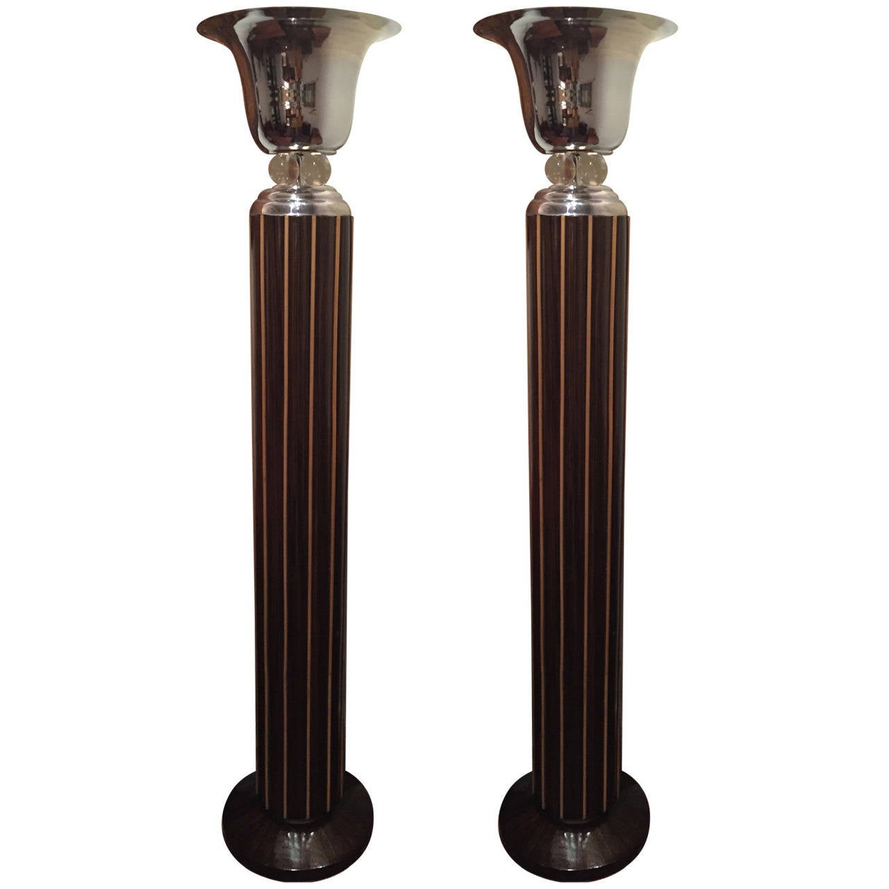 Spectacular Art Deco Floor Lamps in Two-Tone Wood
