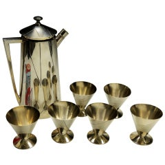 """Extremely Rare Modernist Cocktail Shaker Set by Bernard Rice """"Shadow"""" circa 1922"""
