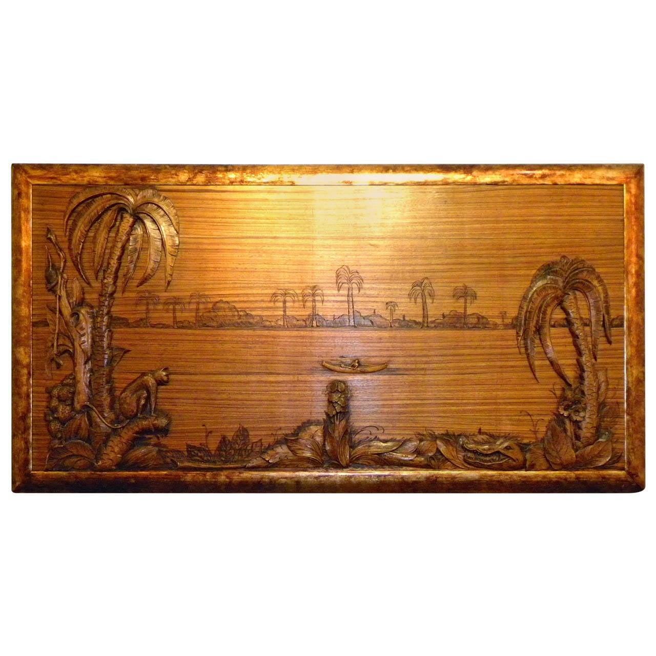 tropical art deco jungle scene carved panel on zebra wood painting at 1stdibs. Black Bedroom Furniture Sets. Home Design Ideas