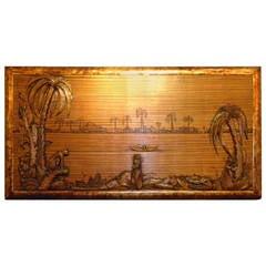 Tropical Art Deco Jungle Scene Carved Panel on Zebra Wood Painting