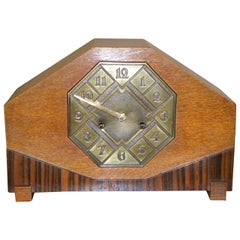Striking Art Deco Mantle Clock with Mixed Wood and Brass Detail