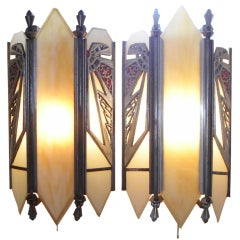 Unique Zig Zag Theater Art Deco Sconces 2 Pair