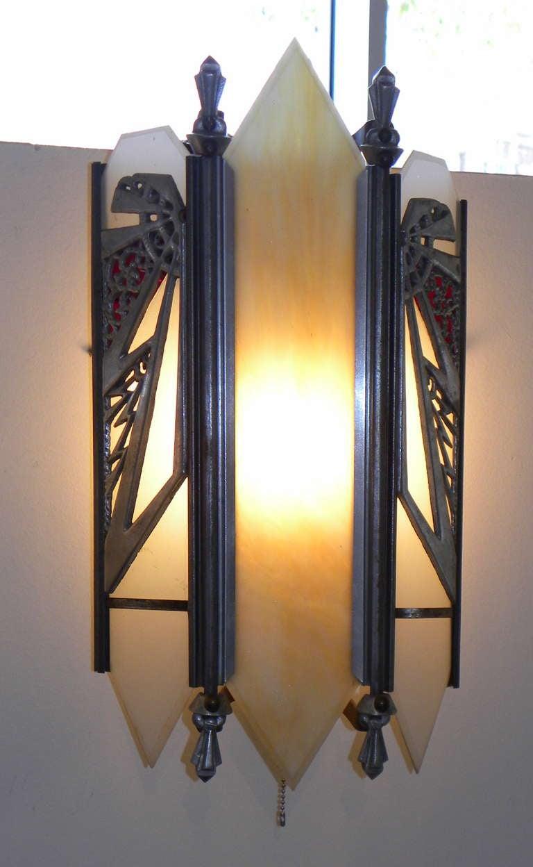 Unique Zig Zag Theater Art Deco Sconces 2 Pair At 1stdibs