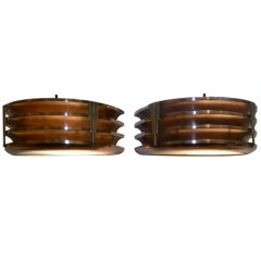 Copper Brass modernist stepped and fluted art deco sconces circa 1930's  A great