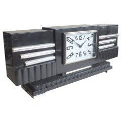 Stunning Modernist Art Deco Black Marble  French Clock by Marti
