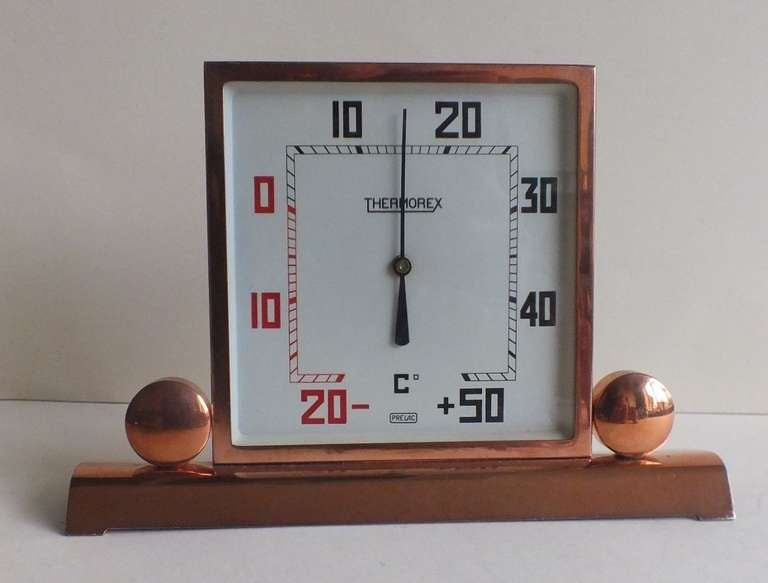 Art Deco Copper-Plated Square Thermometer, French In Good Condition For Sale In Oakland, CA