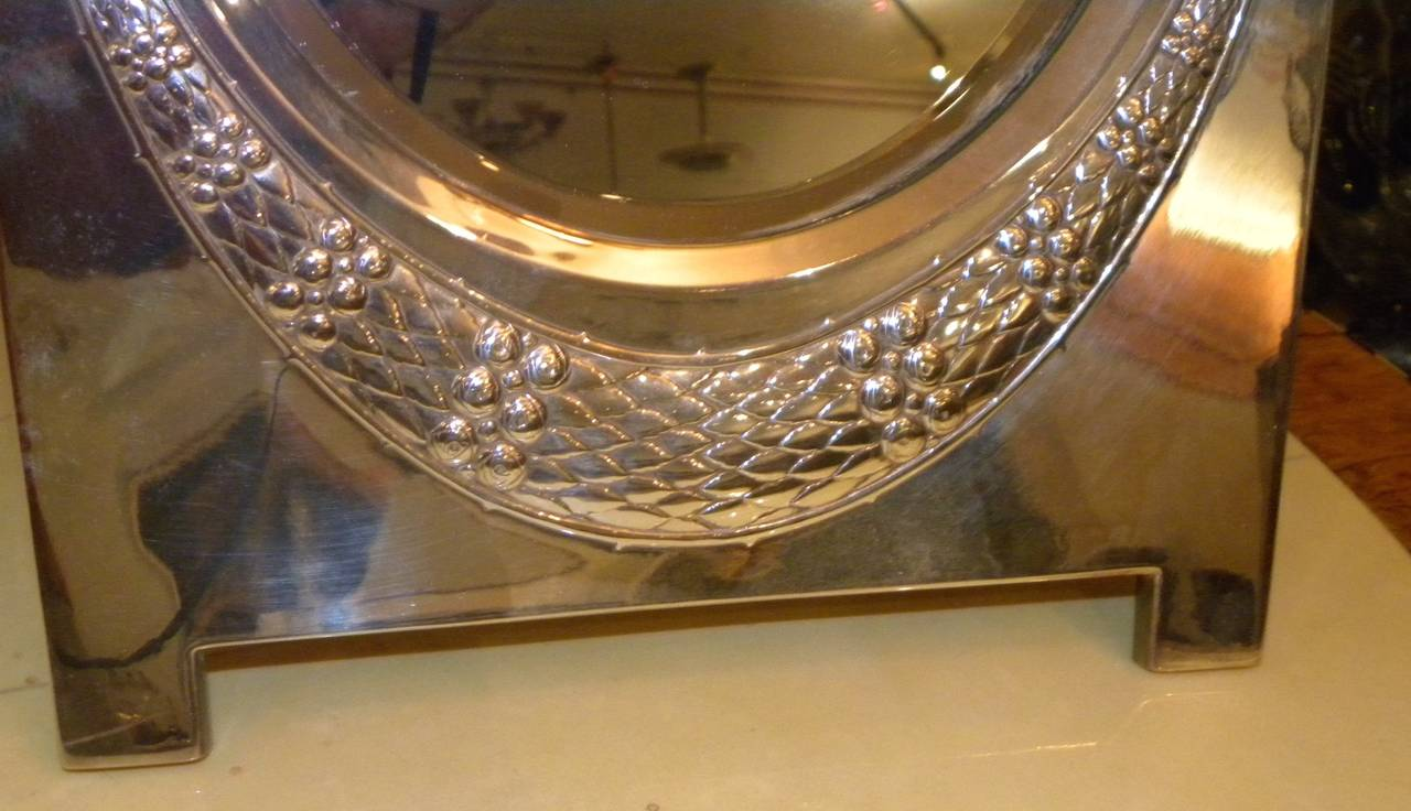 Elegant Silver Art Deco or Art Nouveau WMF Table Mirror In Excellent Condition For Sale In Oakland, CA