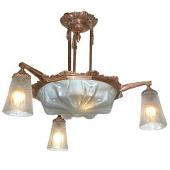 Outstanding Mueller Modernist Copper Fixture, Unusual Color French Art Deco
