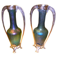 Art Nouveau Loetz Style Glass Vases with Metalwork