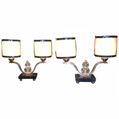 Modernist Art Deco French Pair of Table Desk Bed lamp