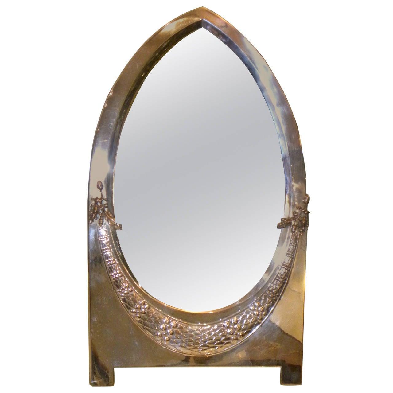 Elegant Silver Art Deco Or Art Nouveau Wmf Table Mirror At