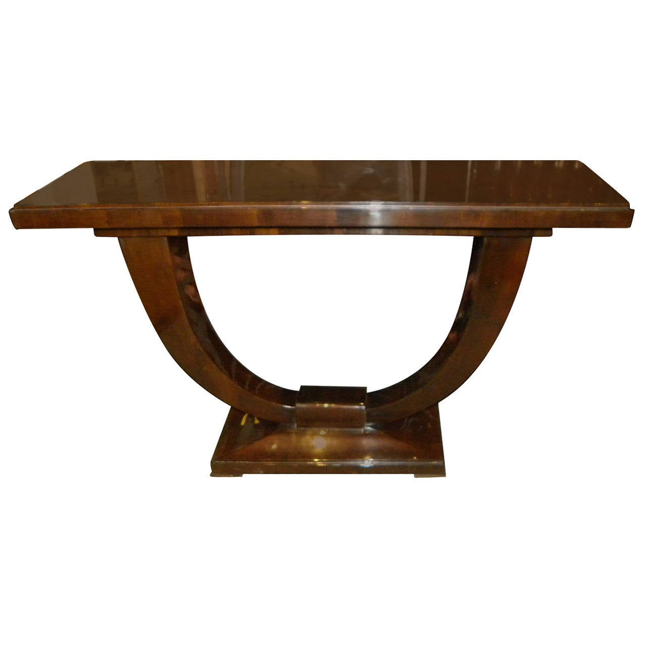 art deco console u shaped base in wood at 1stdibs. Black Bedroom Furniture Sets. Home Design Ideas