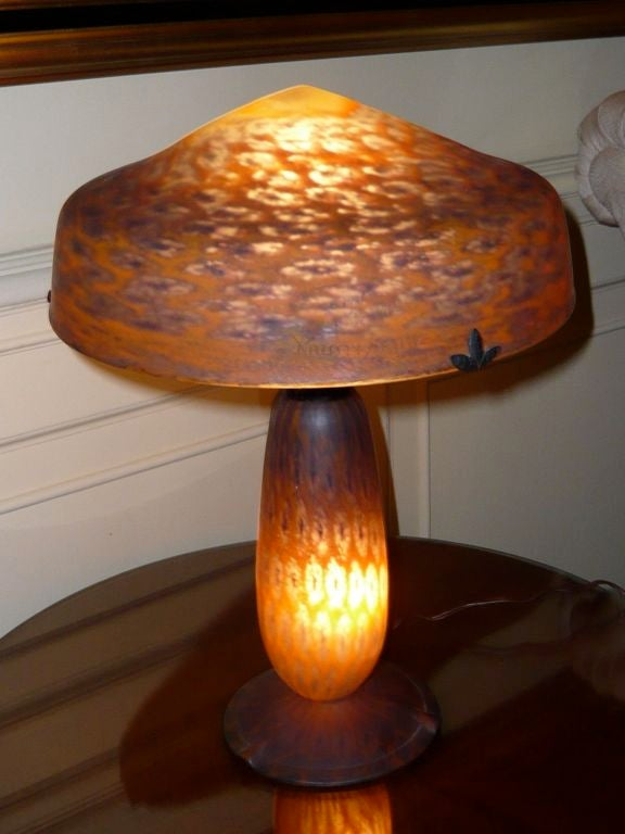 Very rare daum nancy art deco mushroom lamp at 1stdibs original signed daum nancy cameo style mushroom lamp very unusual ornate hand blown cased aloadofball