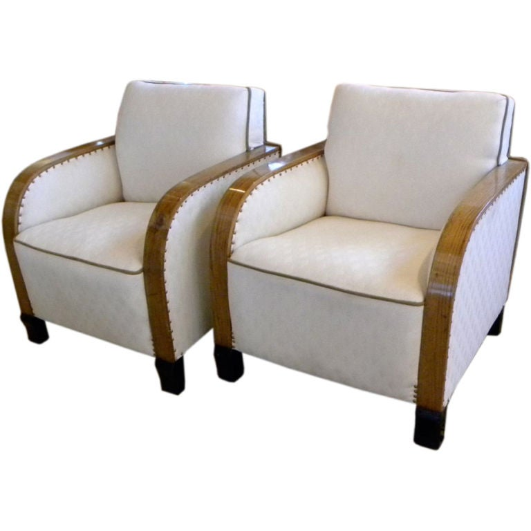 Art Deco Club Chairs With Diamond Fabric At 1stdibs