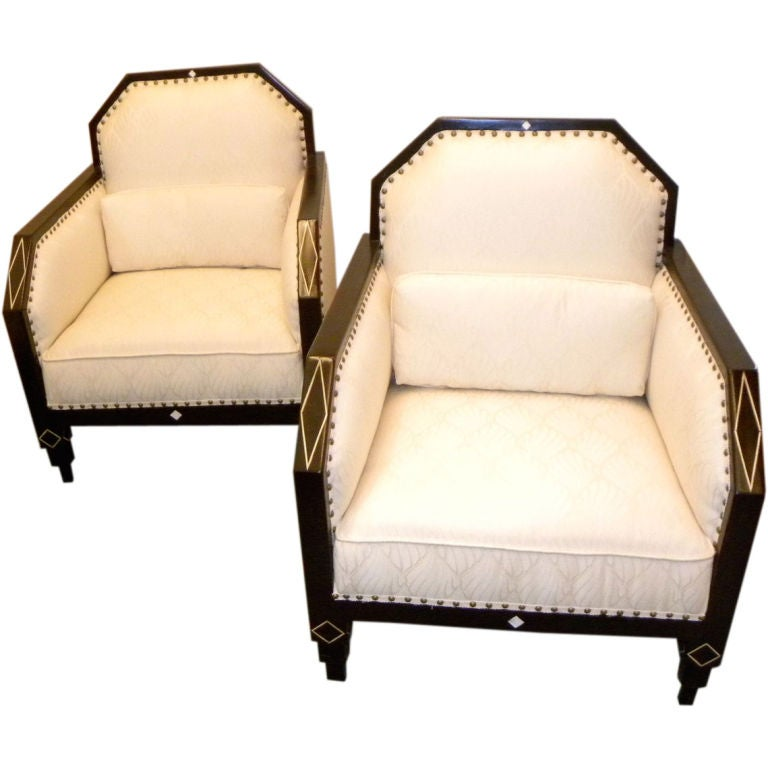 Art deco library club living room chairs period style for Art deco style living room furniture