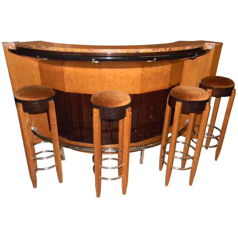 Bar Stand Furniture: French Art Deco Bar Stand With Stools At 1stdibs