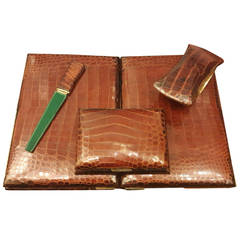 Hermès Paris Crocodile Skin Four-Piece Desk Set French Art Deco