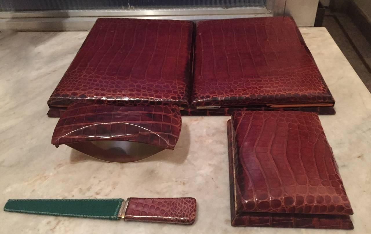 Hermès Paris Crocodile Skin Four-Piece Desk Set French Art Deco In Excellent Condition For Sale In Oakland, CA