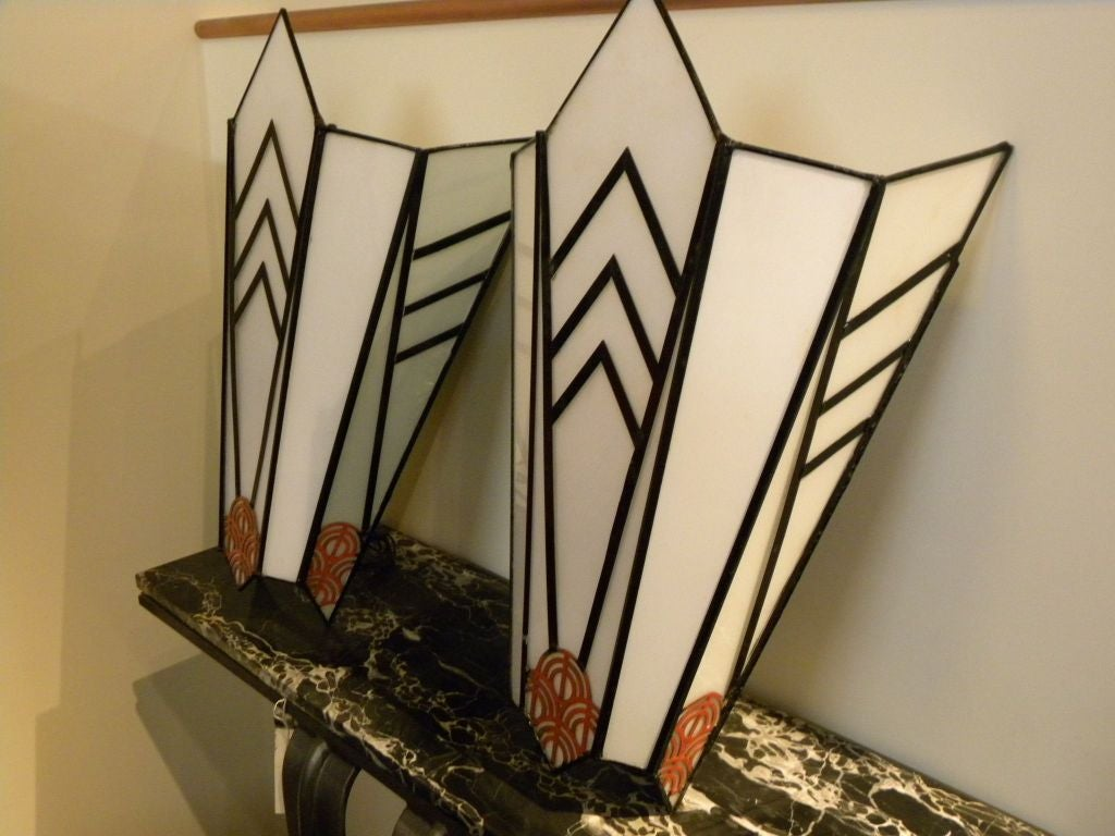 Art Deco Theater Sconces Cubist and Unique at 1stdibs