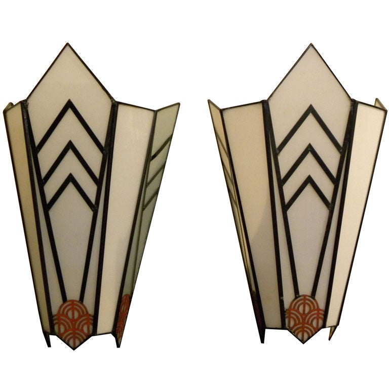 Art Deco Wall Lights : Art deco theater sconces cubist and unique at stdibs