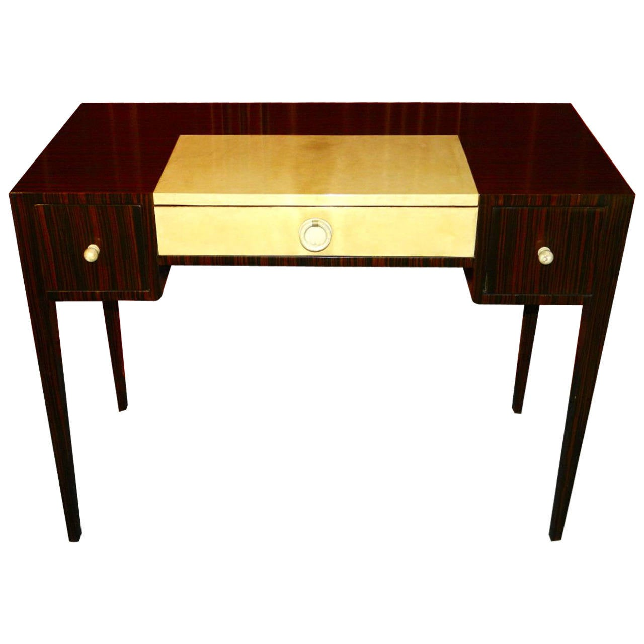 Petite art deco macassar writing or vanity desk at 1stdibs for Art deco writing