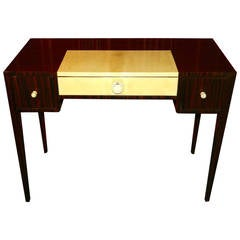 Petite Art Deco Macassar Writing or Vanity Desk