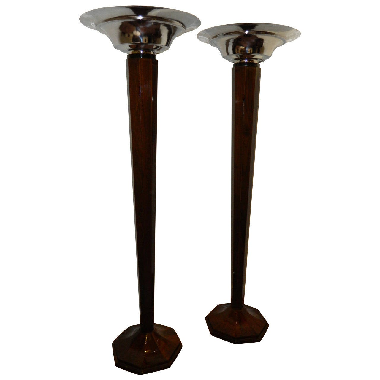 Spectacular faceted art deco wood tall floor lamps for Art deco style lamp