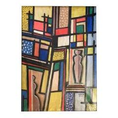 Original Béla Kádár Art Deco Constructivisim Painting