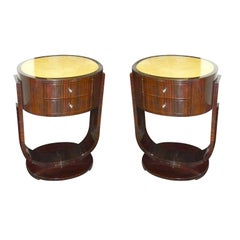 Custom Pair of Art Deco Macassar Nightstands or End Tables