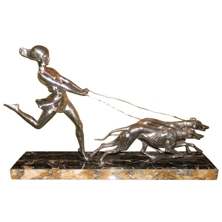 Art Deco Statue French Woman with Greyhounds Signed Geo. Maxim